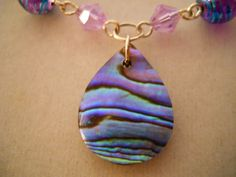 Necklace, Neon, Fluorescent,  Mermaid, Sea Shell, Art Deco, Steampunk, Art Nouveau, Purple, Turquoise, Green, Abalone Shell, Necklace/Choker. $28.00, via Etsy.