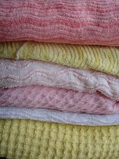 """Old-Fashioned Chenille Bedspreads - we used to oick out the tufts leaving little """"bald"""" spots."""