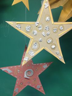 Recycled paper stars. Kids crafts
