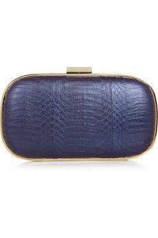 Anya Hindmarch Marano metallic elaphe box clutch. Elegant, chic, perfect for any occasion.