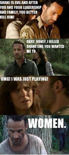 The walking dead. This is why I'm glad Lori is dead. What a bitch.