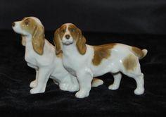 "Vintage Hutschenreuther Dog Figurine - Pair of Springer Spaniels -3.25""H-Mint…"