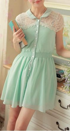 Mint lace shoulder dress
