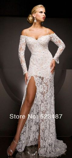 2014 New Long Sleeve Lace Side Split Evening Party Prom Dresses Custom Size 2-22++ $159.00