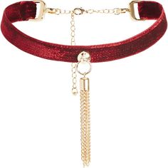 Leda Tassel Choker Blood Red ($79) ❤ liked on Polyvore featuring jewelry, necklaces, velvet choker, ribbon choker, velvet necklace, choker necklace and velvet choker necklace