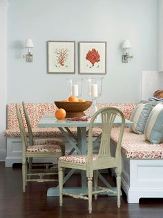 Banquette as Room Divider and love the colors!