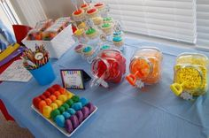 Candy table, love the shovel idea & the cupcake holder