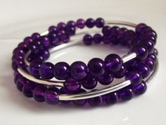 Purple Glass Beaded Memory Wire Wrapped Bracelet by Allimade, $14.00