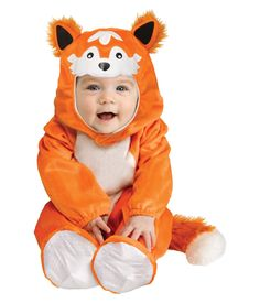 OFF or FREE SHIP -Baby Fox Toddler Costume Months : Get your little one into the Halloween spirit with this great fox costume which is sure to put a huge smile on their tiny faces! Footed jumpsuit with attached tail hood and open/close inseam. Animal Halloween Costumes, Baby Halloween Costumes For Boys, Halloween Onesie, Halloween Books, Toddler Costumes, First Halloween, Cute Costumes, Halloween Ideas, Halloween Parties