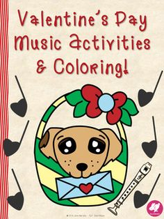 Valentine's Day Music Activites, coloring, and worksheet for basic music theory concepts
