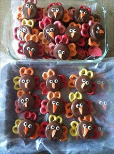 Chocolate covered Oreo Turkeys. Using multicolored chocolate covered pretzels as feathers.