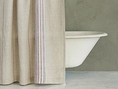 Coyuchi Relaxed Linen Stripe Shower Curtain/Natural w/Aubergine-alpine White ($258.00 + $7.95 shipping) -Yarn-dyed stripes infuse weighty natural linen with warm color. -Our shower curtain may be used with a liner or without -Our linen is made in India from flax grown in France and Belgium. -72 x 72