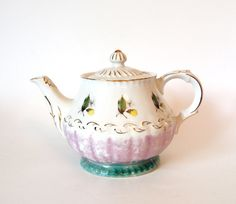 Pretty Vintage Purple and Blue Lusterware Teapot  with Gold - Made in England - Mid Century by HouseofLucien, $32.00