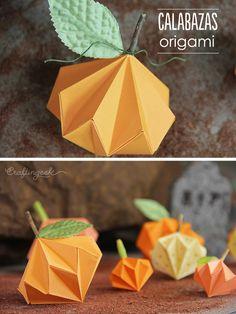 Lindas calabazas de origami como decoración. Puedes hacer de distintos tamaños y darle un toque tierno a la noche de brujas. #halloween #tutorial