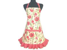 Red Poppies Floral Apron for women  Retro Kitchen by ElsiesFlat (Home & Living, Kitchen & Dining, Linens, Aprons, wizard of OZ, poppies, flower apron, floral apron, girls apron, retro womens apron, ruffled apron, apron with ruffles, poppy, rockabilly, 1950s, housewiife, yellow and red)