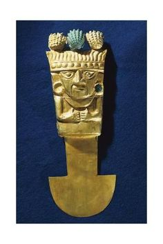 size: Giclee Print: Tumi' or a Sacrificial Ceremonial Knife in Gold Portraying Naymlap, Peru, Chimu Civilization : Tumi, Knife Shapes, Inca Empire, Civilization, Find Art, Framed Artwork, Custom Framing, Giclee Print, Folk
