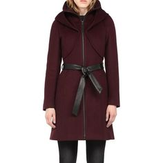 Soia and Kyo Arya Merlot Wool Coat (530 CAD) ❤ liked on Polyvore featuring outerwear, coats, merlot, brown coat, wool coat, hooded coats, soia kyo coat and brown wool coat