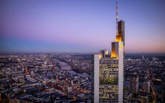 Download wallpapers Frankfurt am Main, Germany, cityscape, morning, sunrise, skyscrapers