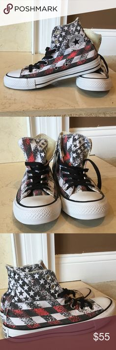 NWO Box Women's Converse High Tops size 6 New without Box Converse Women's High Tops with American flag design. Women's size 6, men's size 4. Converse Chuck Taylor logo on the inside of both shoes. No box, but brand new shoes with tag. Converse Shoes Sneakers