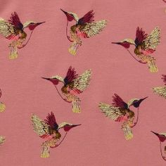 French terry w stretch rose w colibri French Terry, Sewing, Fabrics, Collage, Diy, Pink, Learning, Wallpapers, Kleding