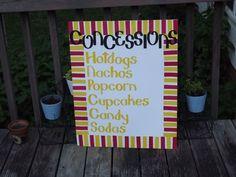 Concession stand menu sign 6th Birthday Parties, Man Birthday, Fashion Art, Outside Movie, Popcorn Cupcakes, Picnic Plates, Outdoor Movie Nights, Movie Night Party, Circus Theme