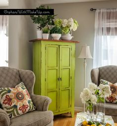 Armoire gets a great pop of colour with Luscious Lime Country Chic Paint. LOVE this color
