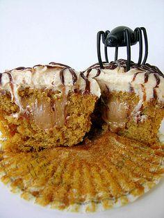 Dulce de Leche filled Pumpkin Cupcakes....with of course Dulce de Leche frosting....