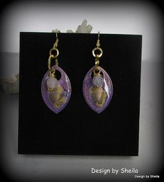Hand Painted Earrings – Golden Lavender