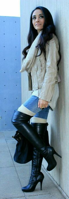The cutest fall/winter outfit. Neutral knit sweater jacket with jeans, thigh socks and black OTK boots.
