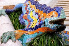 Photo about Fountain mosaic salamander in the park Guell in Barcelona. Image of journey, ceramic, guell - 31687479
