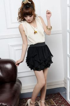 cool Lovely Pleated Mid-Waist Chiffon Above Knee Skirts