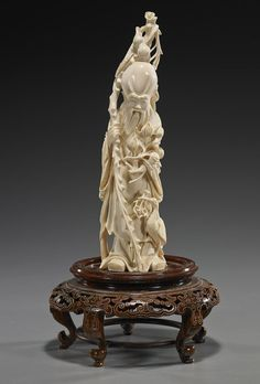 Chinese Ivory Statues | Old Chinese Carved Ivory Shoulao Figure : Lot 260