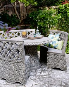 """""""Provence"""" Outdoor Furniture at Horchow. Intricately detailed outdoor furniture makes garden parties—and garden appreciation—inevitable.        All pieces are made of crushed stone, resin, styrene, and fiberglass, making them both lightweight and durable.      Handcrafted and hand painted."""