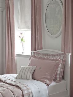 Childrens Bedroom Dusty Pink embroidered linen Curtains with reversible quilted bedcover and Cushions in striped and checked linen from Moghul's Signature Range.  http://www.moghulinteriors.com