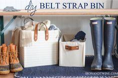 diy belt strap bin - the handmade home