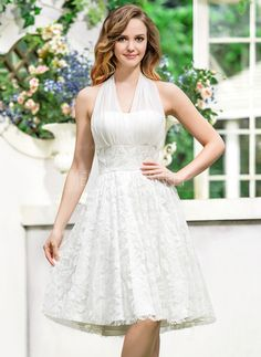 *w* So pretty! A-Line/Princess Halter Asymmetrical Chiffon Lace Wedding Dress With Bow(s) Affordable Wedding Dresses, Wedding Dresses For Sale, Wedding Party Dresses, Bridal Dresses, Vestidos Junior, Junior Dresses, Knee Length Bridesmaid Dresses, Knee Length Dresses, Lace Wedding Dress