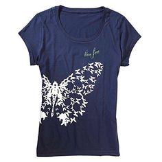 Women's Live Free Organic Cotton Butterfly T-Shirt - Navy - X-Large