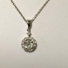 Diamond Necklace ~ Halo Diamond Pendant ~ White Gold Diamond Halo ~  Halo Necklace ~ Anniversary Gift ~ Push Gift ~ Wedding Jewelry by Itsmyfavoritejewelry on Etsy