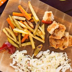 Crunchy Lemon Fish Nuggets with Slaw and Veggie Fries