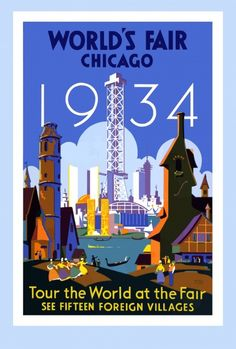 b9aed1041f66 Shop Vintage Art Deco Chicago 1934 World s Fair Poster created by  Sandy Richter.