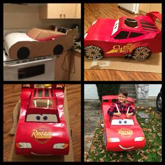 Halloween costume made by my husband and I. Race Car Birthday, Race Car Party, Cars Birthday Parties, Cars Halloween Costume, Car Costume, Holidays Halloween, Halloween Kids, Diy Toys And Crafts, Piñata Cars