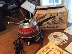 Vintage 1970's Oster Electric Fondue Set with Box by AnnieFannyFooFoo on Etsy