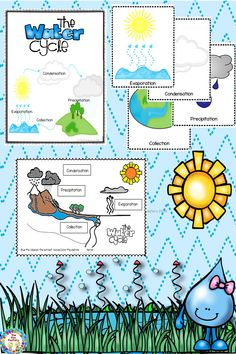 This water cycle unit for first and second grade students explains evaporation, condensation, precipitation, and collection. This 36 page science unit has whole group, small group, center activities and worksheets. Included are an original water cycle song, water cycle posters, a water cycle experiment. an observation journal, materials and directions to act out the water cycle, a pocket chart center activity, an interactive student reader/color book, and water cycle worksheets.