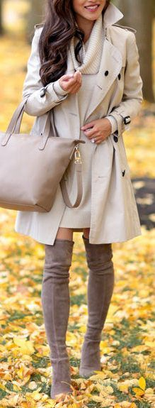 fall outfit ideas / beige trench coat + dress