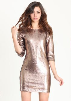 bb dakota derora sequin dress in champagne