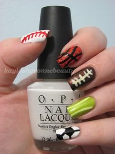 Sports Themed  Nail Art - so love this! - well, of course the ring finger! green! duh!