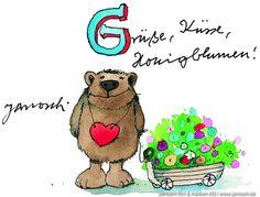 Grüsse, Küsse, Honigblumen. #Grüsse, #Postkarte, #Janosch