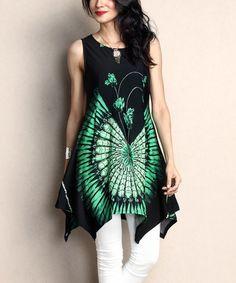 Another great find on #zulily! Black & Green Feather Sleeveless Handkerchief Tunic #zulilyfinds