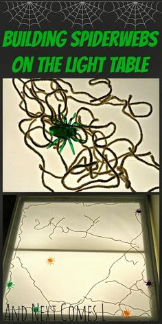 Building spiderwebs on the light table - perfect for Halloween or a spider theme from And Next Comes L: