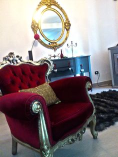 Gold & red antique chair